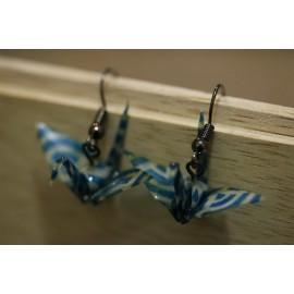"""Ohrringe """"ORIZURU"""" Blau und Weiss - Origami Kranich"""