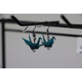 "Ohrringe ""ORIZURU"" Smaragdgrün - Origami Kranich"