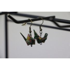 """Ohrringe """"ORIZURU"""" grün mit Kiku - Origami Kranich"""
